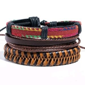 Multi Layer Leather Bracelet set
